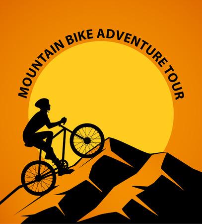 Mountain Biking at Sunset Vector Illustration Illustration