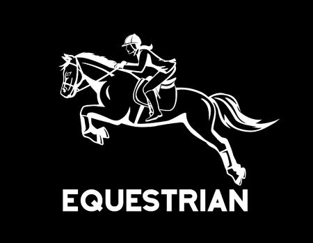 cavallo che salta: Horse Jumping Sport Equestri Vettoriali