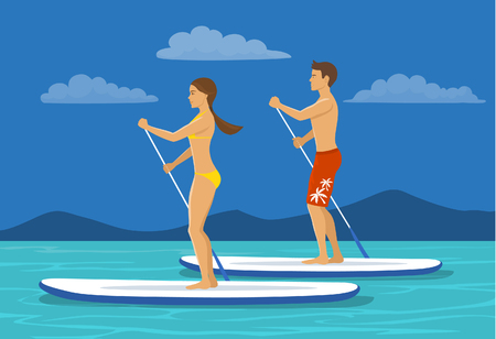 Man and woman do stand up paddling on water. Couple paddleboard surfing