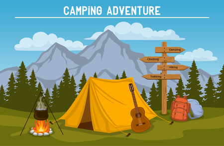 Campsite with  camping tent, rocky mountains, pine forest, guitar, pot, campfire, hiking backpacks , directional sign. outdoor tourism scene Ilustração