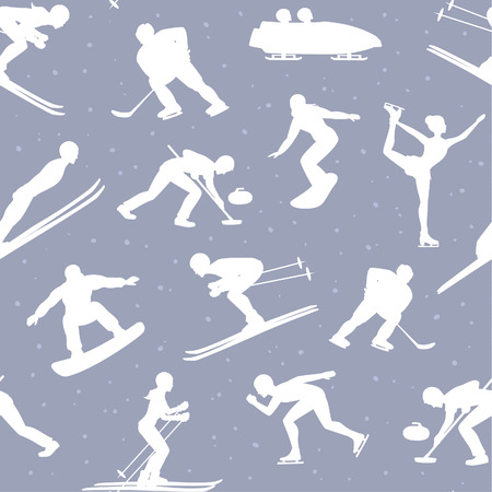 speed skating: Winter Ice Snow Sports Seamless Pattern Background including silhouettes of cross country, freestyle skiiing, sowboarding, speed skating, ski jumping, curling and figure skating, ice hockey, bobsleigh sportsmen