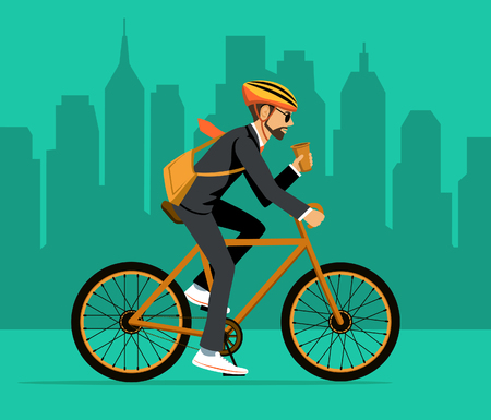 Cool Male Businessman  riding bicycle to office. Eco friendly trendy city bike to work