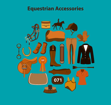 Horseback riding equestrian objects items accessories set including saddle, pad, blanket, bridle, snaffle, girth, breeches, show competition jacket, clothing, rosette, starting number, polo shirt, boots, fly mask, helmet etc Illustration