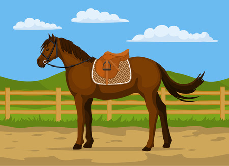 Horse ranch cartoon vector illustration