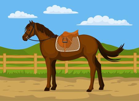 Pferderanch Cartoon-Vektor-Illustration