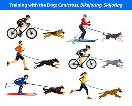 El ejercicio de la formación con su perro: canicross, bikejoring, skijoring Ilustración de vector