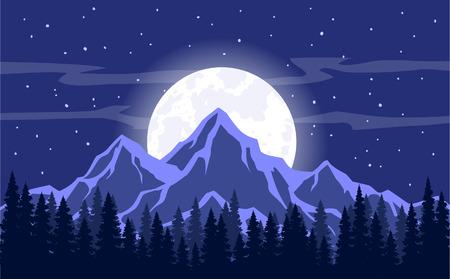 Maan, Maanlicht, Rocky Mountains en pijnbomen bos achtergrond vector illustratie. Night Sky Landschapssterren