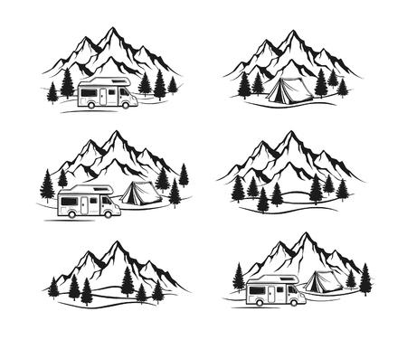 family van: Campsite with camper caravan,  tent, rocky mountains, pine forest labels, emblems, badges elements Set