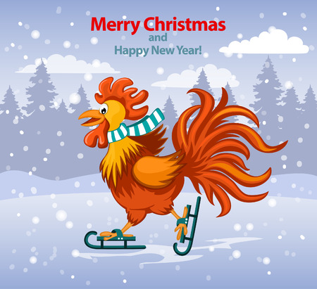 Merry Christmas and Happy New Year Greeting Card with Cute Funny Rooster Ice Skating under the Snow Vector Illustration