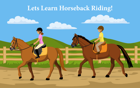 Boy and Girl Learning Horseback Riding. Countryside background Vectores