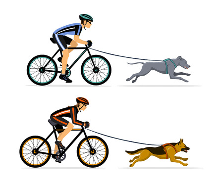Couple, Man and Woman bikejoring with their dogs vector illustration. Outdoor Training Exercising