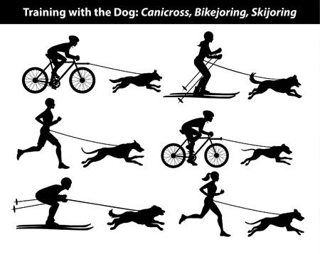 Training Exercising with dog: canicross, bikejoring, skijoring silhouettes set