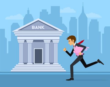 Zakenman loopt met piggy-bank aan de bank te winnen investeren verhogen zijn spaargeld geld