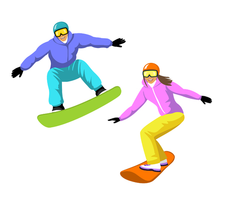 Young Man and Woman Snowboarding. Isolated.  Winter Fun Sport Activities Vector Illustration
