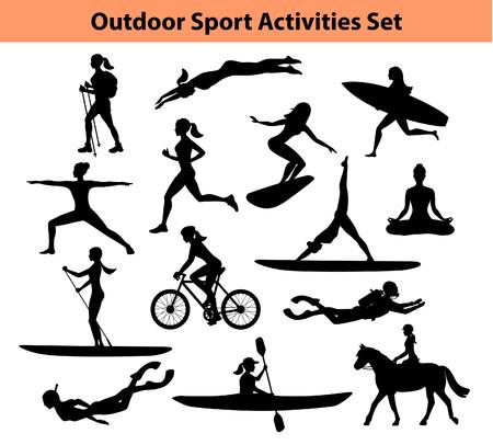 Entrenamiento al aire libre actividades deportivas. Silueta femenina. Mujer Natación, senderismo, correr, ciclismo, hacer yoga, senderismo, buceo, kayak, stand up paddle, surf, buceo, Hípica Ilustración de vector