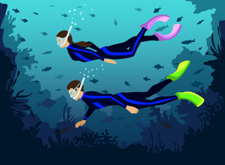 Man and Woman in diving wetsuits snorkeling exploring underwater world with fishes, corals, reefs Vettoriali