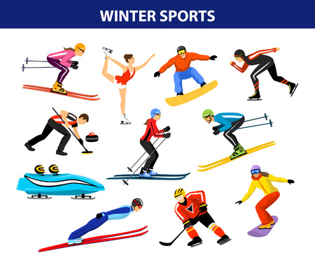 speed skating: Winter Ice Snow Sports Set includin cross country, freestyle skiiing, sowboarding, speed skating, sliding, bobsled, ski jumping, curling and figure skating. Male and female sportsman