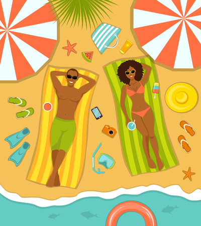 woman lying in bed: Couple on the beach top view. Man and Woman sunbathing on striped towels . Summer Time Vector Illustration with people, beach accessories, umbrellas, floats, starfish, cocktails, diving mask, paddles, etc