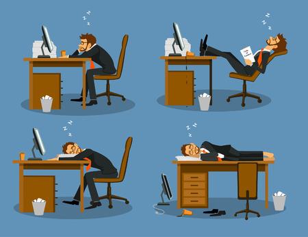 Zakenman vervelen moe uitgeput slapen in de scène Set. Humor het leven op kantoor