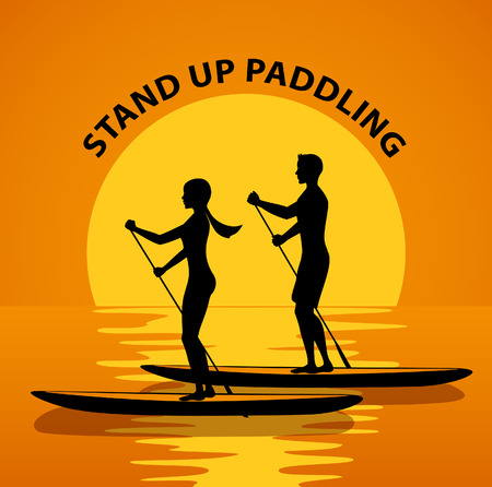 Man and woman do stand up paddling on water at sunset. Couple paddleboard surfing silhouette