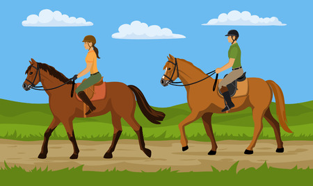 Man and woman Riding Horse in Nature. Countryside landscape background.