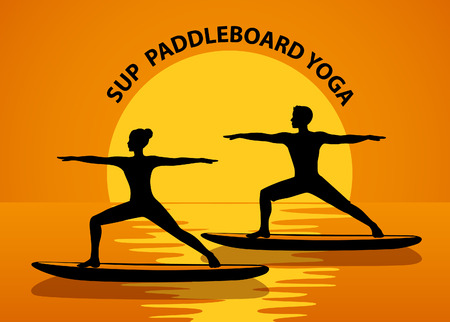 Couple doing stand up paddleboard yoga silhouette at sunset Illustration