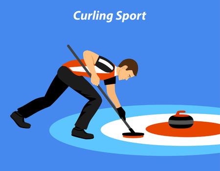 ice slide: Curling Sport Vector Illustration