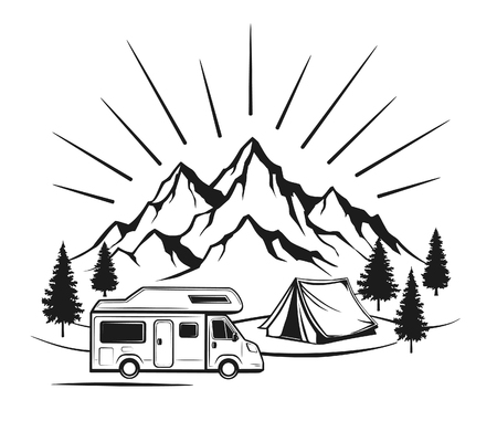 camper: Campsite with camper caravan,  tent, rocky mountains, pine forest. family vacation  outdoor scene