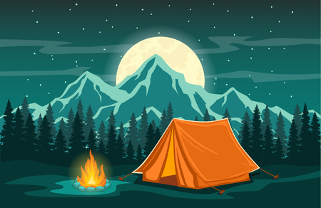 Family Adventure Camping Evening Scene.  Tent, Campfire, Pine forest and rocky mountains background, starry night sky with moonlight