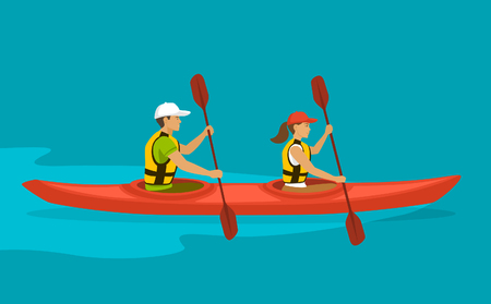 woman male: Couple Paddling in double Kayak on water . Man and Woman kayaking vector illustration