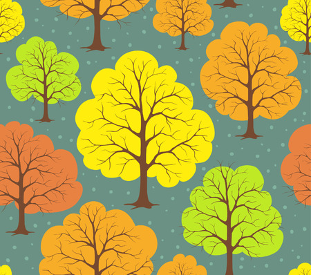 Seamless pattern texture backgrund with stylized colorful autumn fall trees