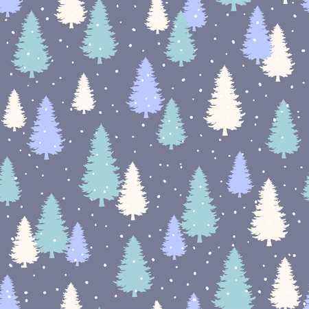 evergreen: Winter Seamless Pattern with stylized evergreen pine trees