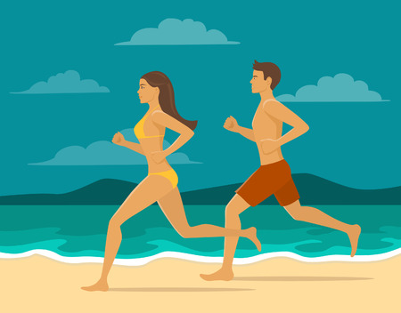 jogging in nature: Man and Woman jogging together on the beach. Couple workout at the seaside. Active healthy lifestyle Illustration