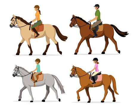 Hombre, mujer, niño, niña montar a caballo Conjunto de la ilustración, aislado. deporte ecuestre entrenamiento paseo a caballo de la familia