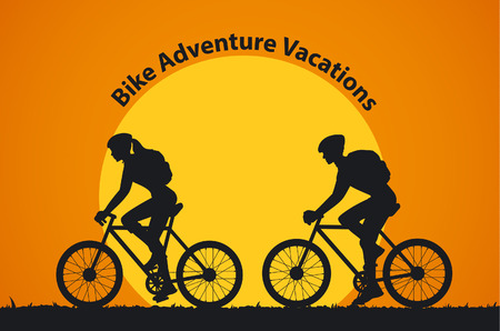 Man and Woman Silhouettes Bikers make a cycling tour. Couple traveling by bikes vector illustration
