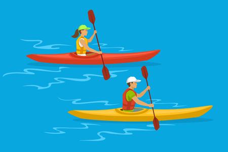 Homme et Femme Kayak Vecteurs