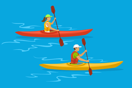 Mann und Frau Kayaking Vektorgrafik