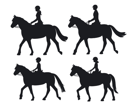 breech: Man woman boy and girl silhouettes riding horses. Family, Couple and chirdren horseback training vector illustration Illustration
