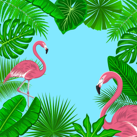 Tropical Background Frame with Exotic Jungle Leaves and Pink Flamingos. Fan, Coconut, Banana Palms, Monstera, Aralia, Bird of Paradise, Fern, Alocasia Leaves Foliage