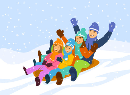 Happy family , man, woman and children having fun sledding snow downhill Ilustração