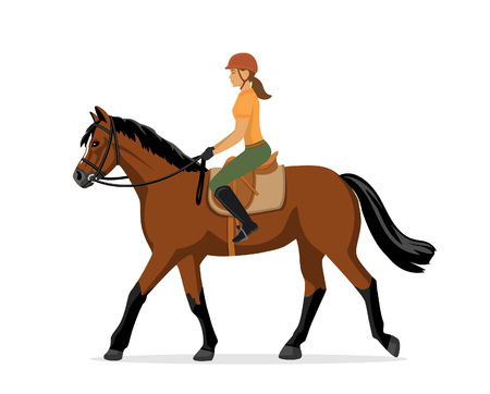 Woman Horseback Riding. Equestrian Sport. Isolated Vector Illustration Çizim