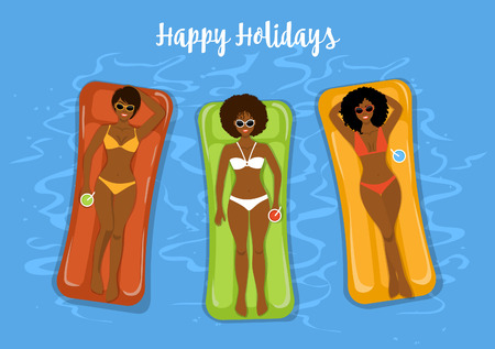 woman lying in bed: three cute girlfriends sunbathing swimming on inflatable matresses in the pool top view vector illustration. Illustration