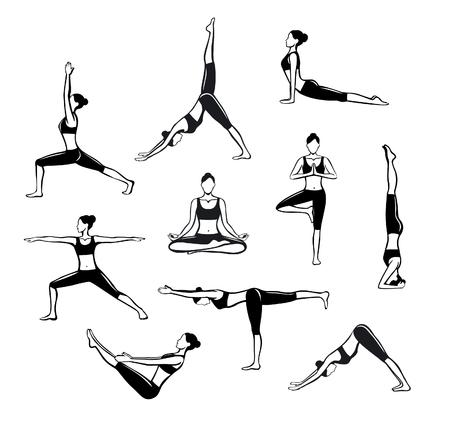 Yoga Workout. Silhouetten van een vrouw in Boom, Sirsasana, Boot, Warrior één, twee, drie, naar beneden en naar boven kijkende hond, lotus, hoofdstand poses