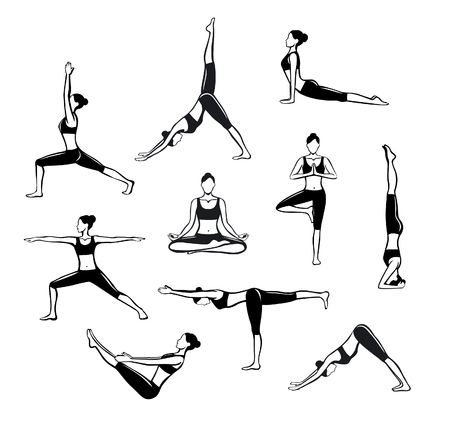 Yoga Workout. Silhouettes of a woman in Tree, Sirsasana, Boat, Warrior one, two, three, downwards and upwards facing dog, lotus, headstand poses