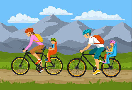 couple hiking: Family, Parents, Man Woman with their children, boy and girl, traveling riding bikes. Safe kids seats and trolleys for cycling together outdoor vector illustration