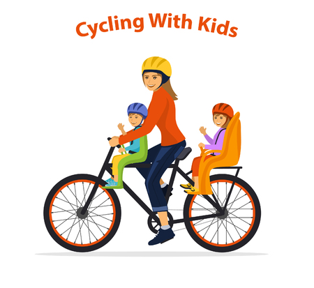 Woman cycling with her children, boy and girl. Kids sitting on bike safe seats in front and back