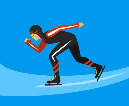 roller skating: Speed Skater  Race on Ice Rink Vector Illustration Illustration