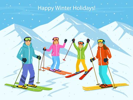 Szczęśliwa rodzina, mężczyzna, kobieta, chłopiec, dziewczyna skiiing w górach Ilustracje wektorowe