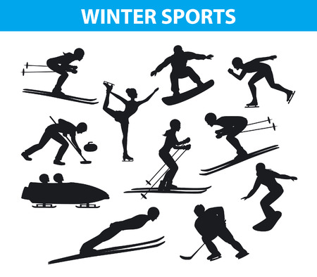 speed skating: Winter Ice Snow Sports SIlhouettes Set including cross country, freestyle skiiing, sowboarding, speed skating, ski jumping, curling and figure skating, ice hockey, bobsleigh