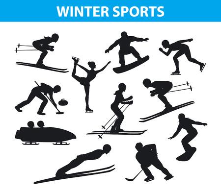 Winter-Eis-Schnee-Sport Silhouettes Set einschließlich Langlauf, Freestyle skiiing, sowboarding, Eisschnelllauf, Skispringen, Curling und Eiskunstlauf, Eishockey, Bobfahren